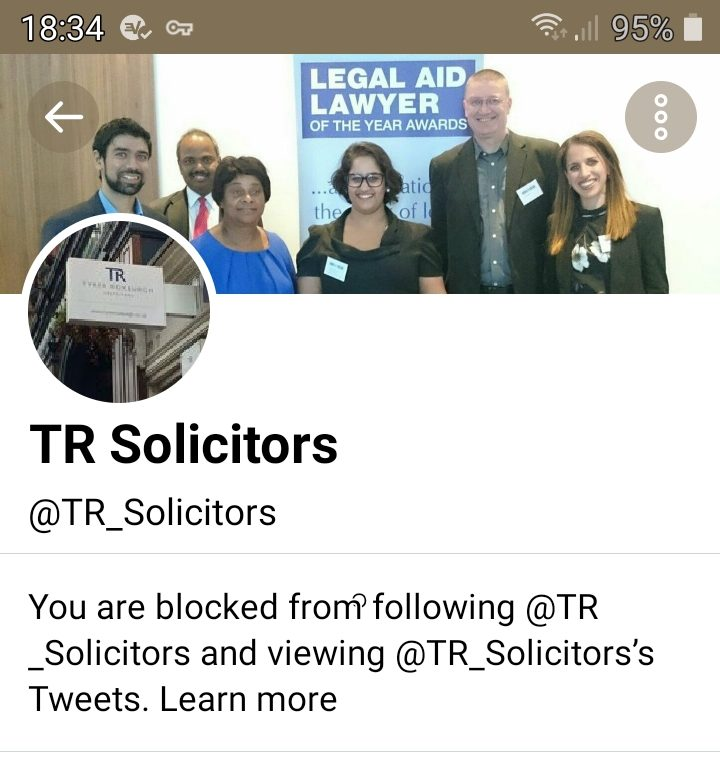 You're blocked. You can't follow or see @TR_Solicitors's Tweets