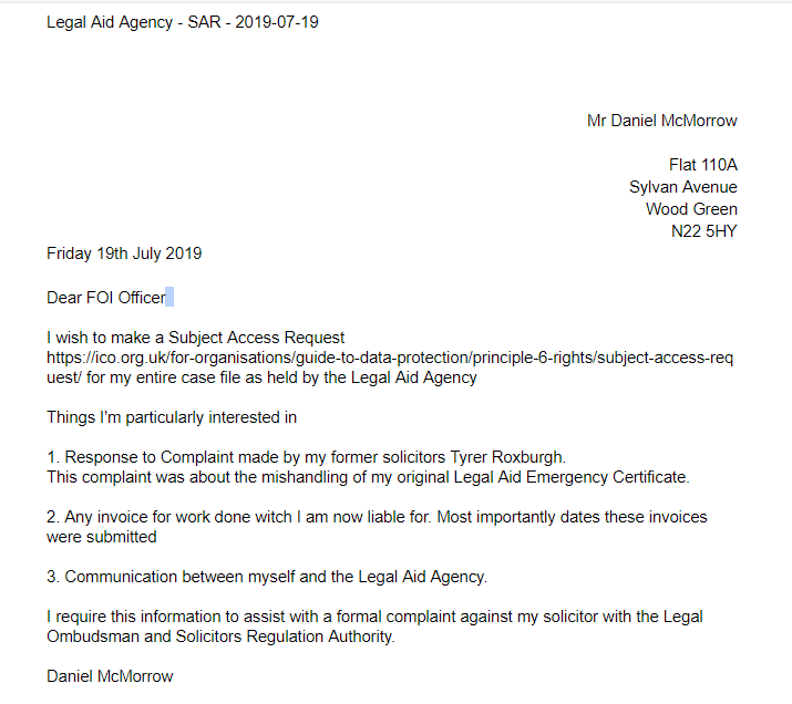 SSubject Access Request made to the Legal Aid Agency