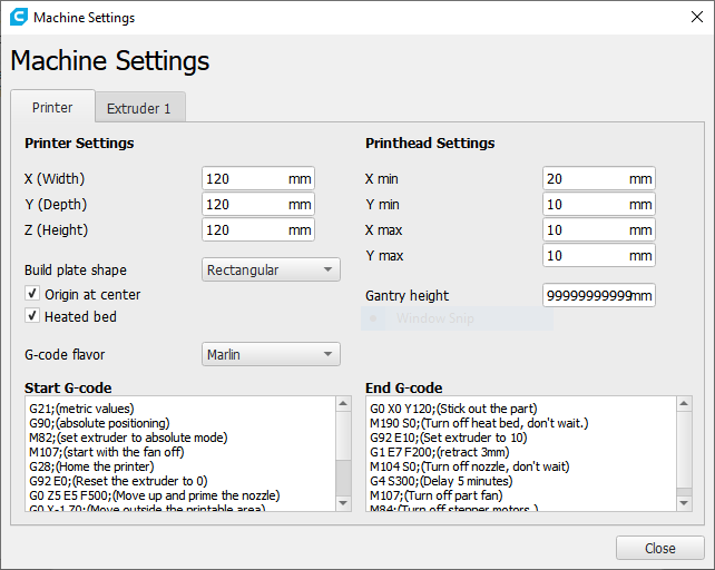 monoprice-cure-printer-settings